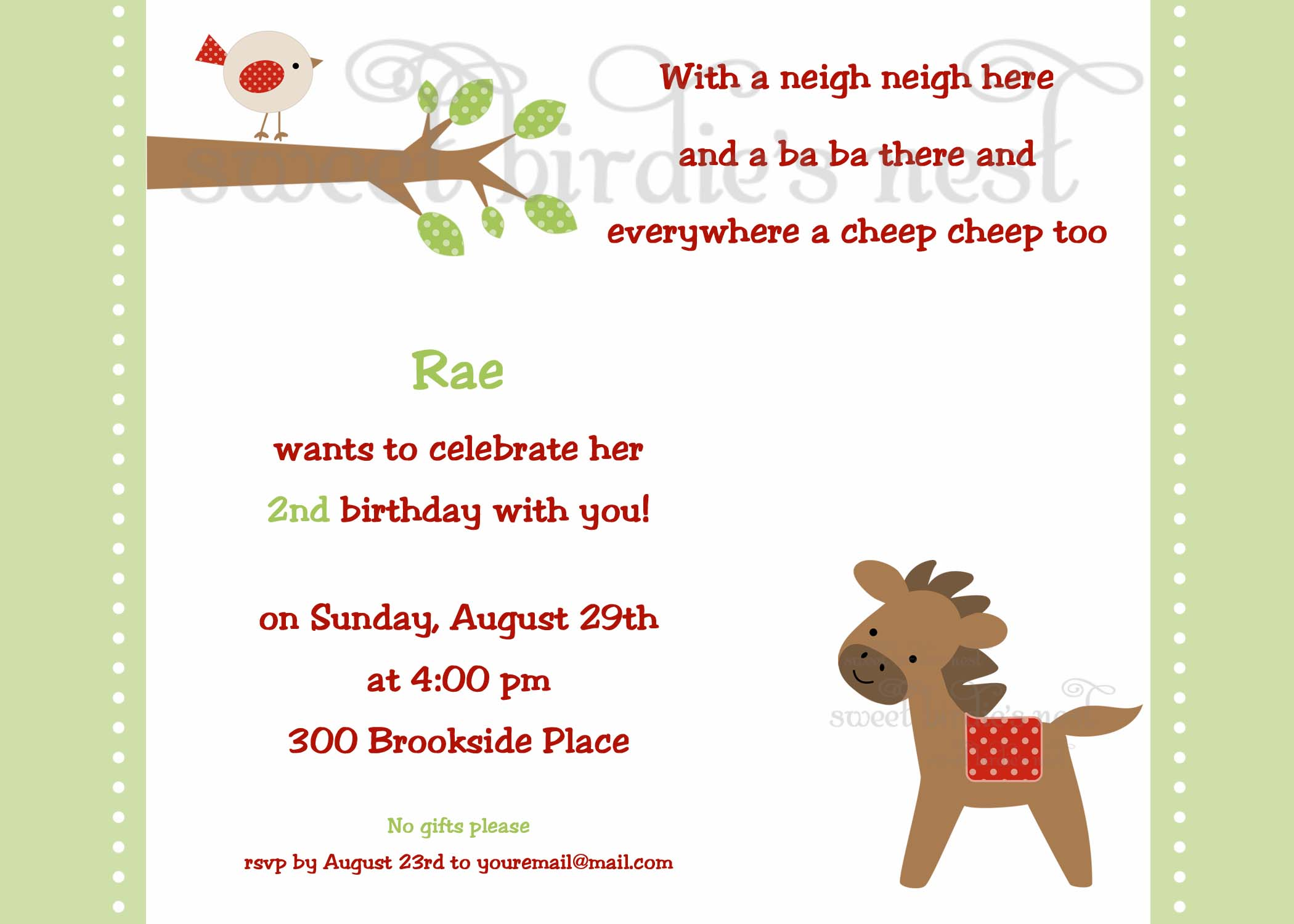 invitation | Sweet Birdie\'s Nest