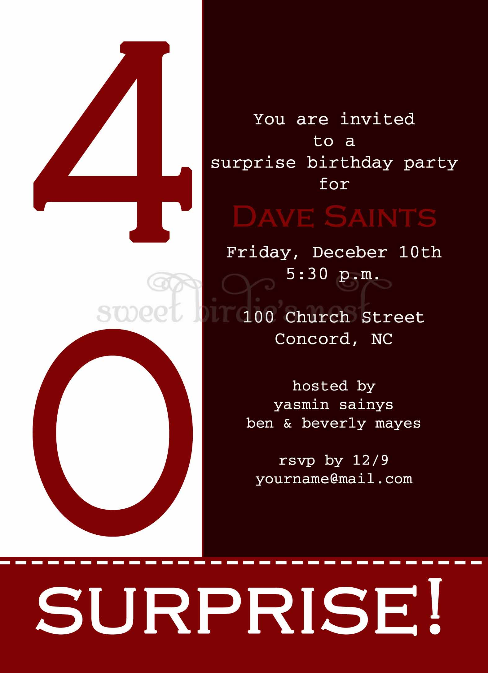 free surprise party invitations